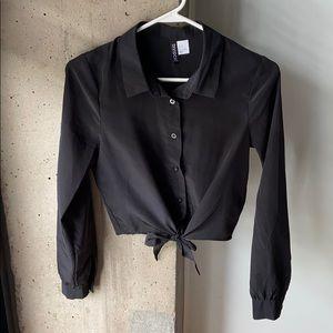 Crop Top Front Tie Button Down Blouse